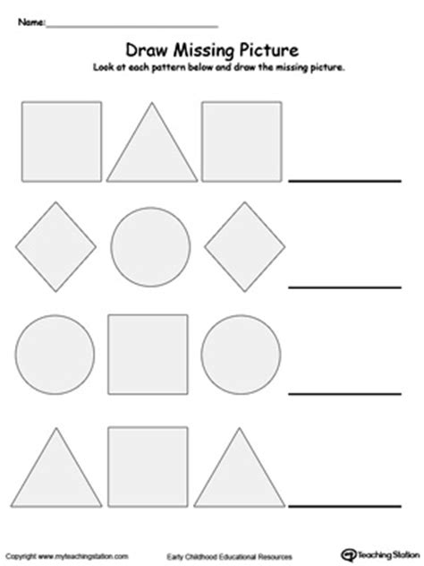 pattern homework for kindergarten draw the missing shape to complete the pattern printable