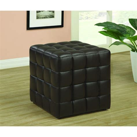 dark brown leather ottoman simpli home avalon square faux leather coffee table