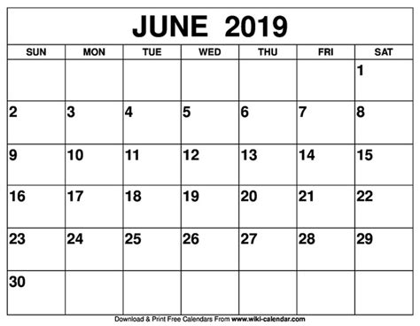 printed  printable calendar  june