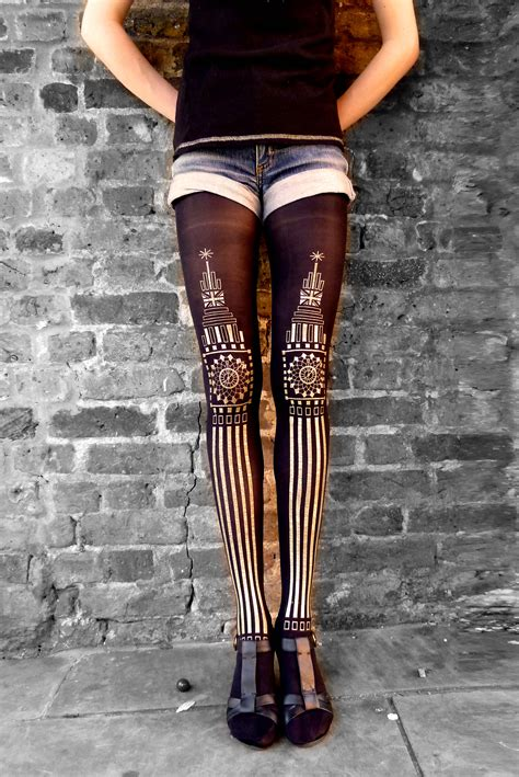 patterned tights london candy baker 187 big ben gold printed tights