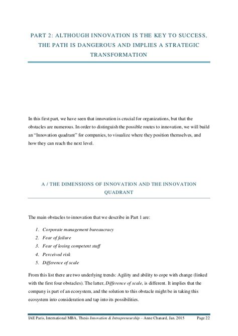 Mba In Innovation And Intrapreneurship by Chanard Mba Thesis On Innovation And Intrapreneurship
