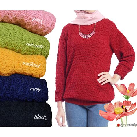 Sweater Bulu fariza sweater pineapple atasan rajut wanita sweater rajut tebal elevenia