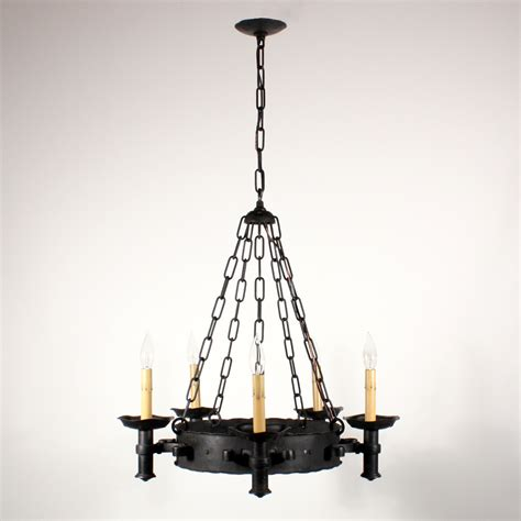 iron chandelier large antique wrought iron five light chandelier riveted nc1415 for sale antiques