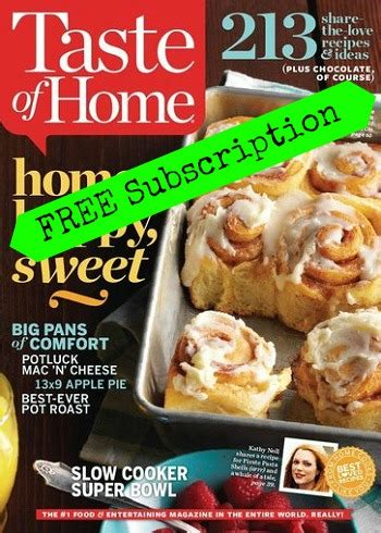 act fast free taste of home magazine subscription