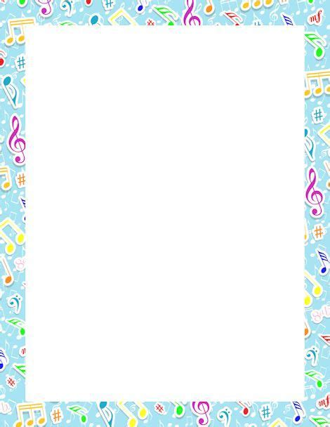 lined paper with music border writing paper music border
