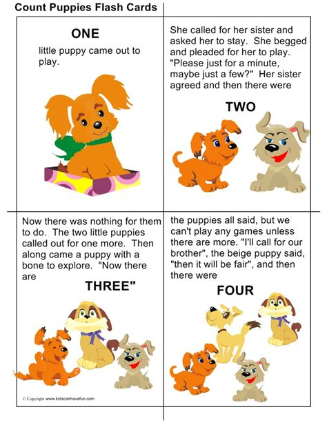 printable animal stories diy count puppies flashcards with rhyming words teach
