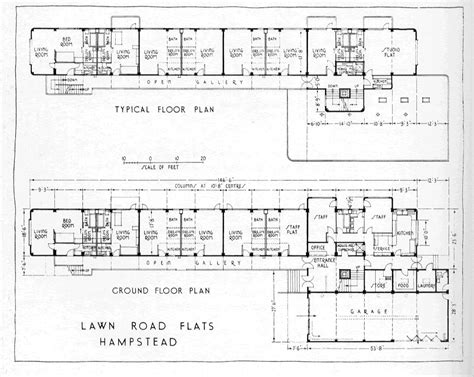 Typical Floor Plan by Wells Coates Lawn Road Flats