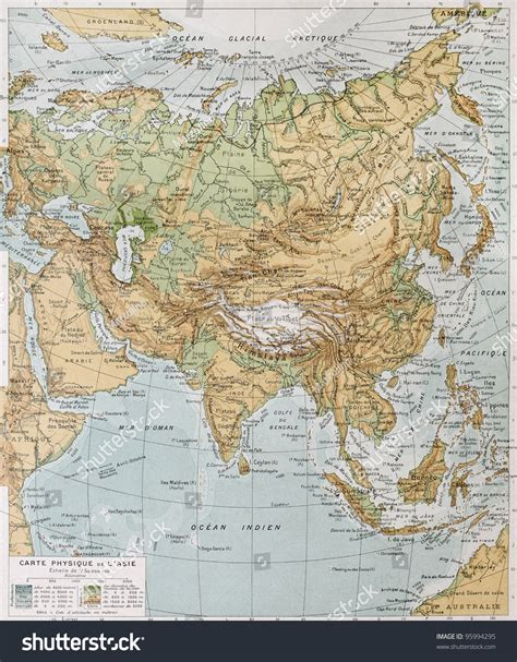 asia map atlas asia physical map by paul vidal stock photo 95994295