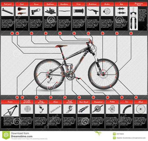 bike parts list template scheme of mountain bike royalty free stock image image