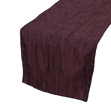 Eggplant Table Runners by 14 X 108 Inch Crinkle Taffeta Table Runners Eggplant For