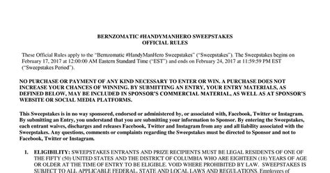 Twitter Sweepstakes Official Rules - bernzomatic handyman hero sweepstakes official rules docx docdroid