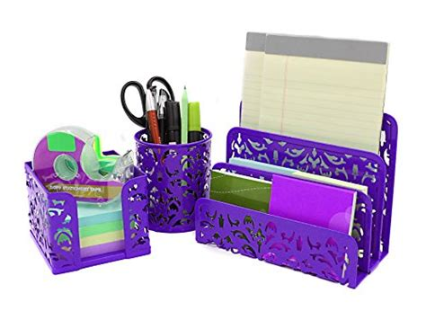 easypag carved hollow flower pattern 3 in 1 desk organizer