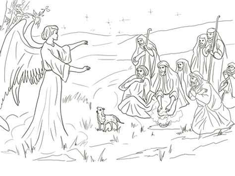 coloring page of the birth of jesus angel gabriel announcing the birth of christ to shepherds