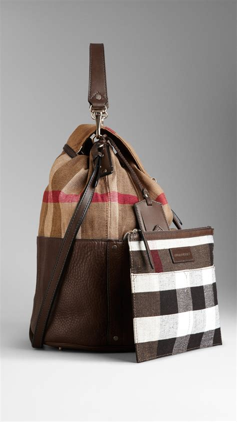 Burberry Check Canvas Hobo by Lyst Burberry Large Check Canvas Hobo Bag In Brown