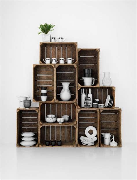alacena con cajas de madera cajas de madera reutilizar y decorar decoracion de