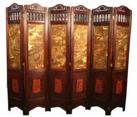 vintage oriental style 6 panels screen room divider