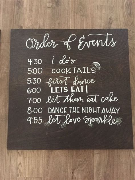 Wedding Order Of Events by Wedding Order Of Events Timeline Sign By