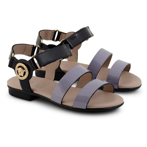 girls black sandals young versace girls black patent sandals with purple strap
