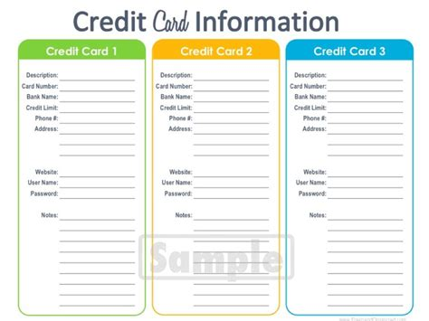 Credit Card Information Template Credit Card Information Printable Editable By Freshandorganized