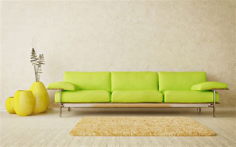 Carpet And Sofa by Green Sofa And Yellow Carpet In Room Wallpapers