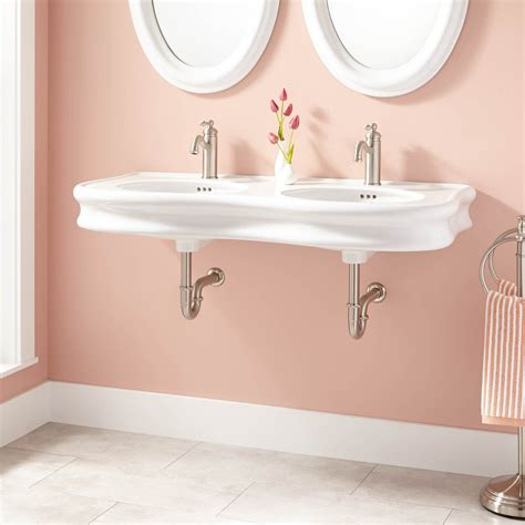 double bowl bathroom sink 46 quot adler double bowl porcelain wall mount bathroom sink