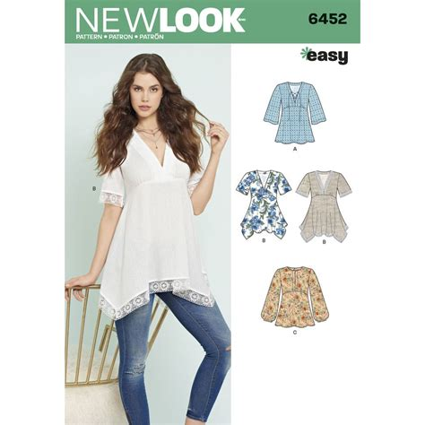 sewing pattern ladies top misses tops with bodice and hemline variations new look