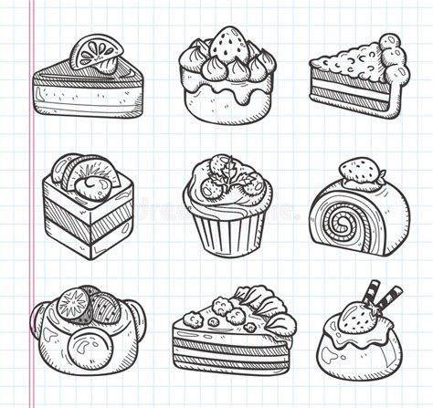 cake doodle doodle cake icons stock vector illustration of drawing