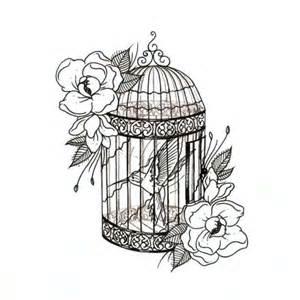 hummingbird in birdcage tattoo design