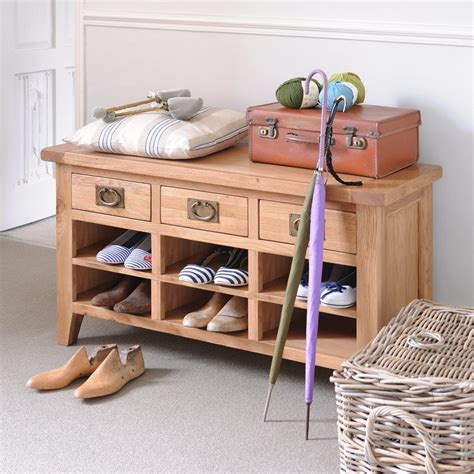 oak shoe bench hallway shoe benches storage ideas
