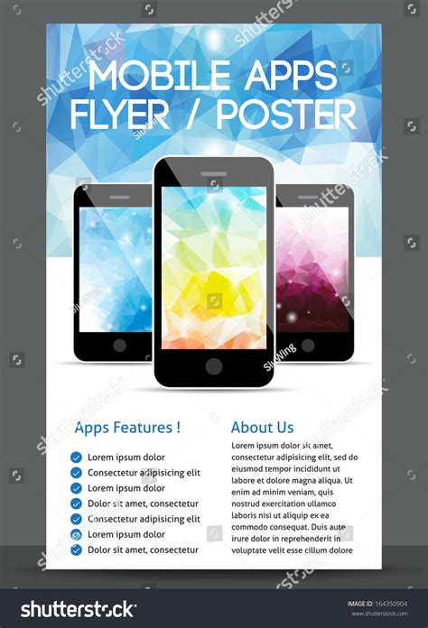 design poster app mobile app flyer and poster design stock vector