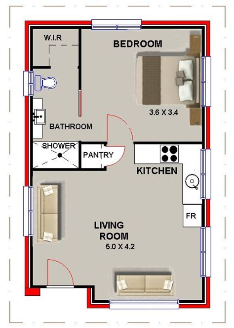 granny house plans granny flat 1 bed home office sleep ou guest quarters