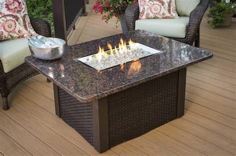 Patio Table With Firepit Outdoor Greatroom Grandstone Gas Pit Coffee Table With Brown Wicker Base N Ebay