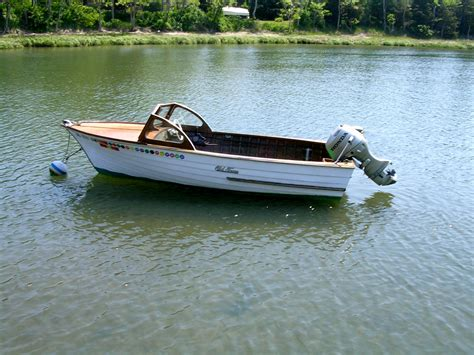 small boat with motor 1961 old town wooden motor boat 16 in mint condition