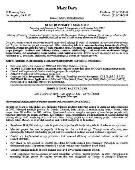 Management Style Resume by Project Manager Resume Exle Sles