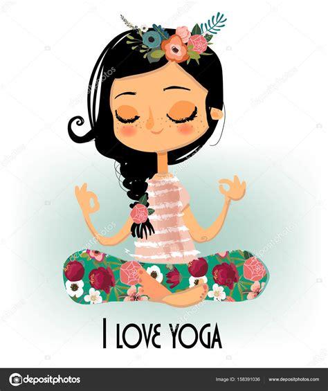 imagenes animadas yoga chica de dibujos animados lindo yoga vector de stock