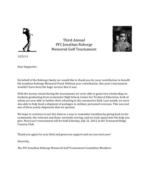 charity golf tournament welcome letter thank you letter memorial golf tournament