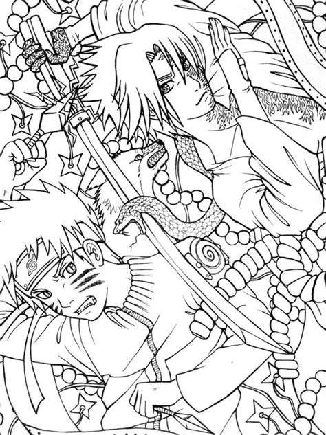 printable naruto shippuden vs sasuke final battle coloring
