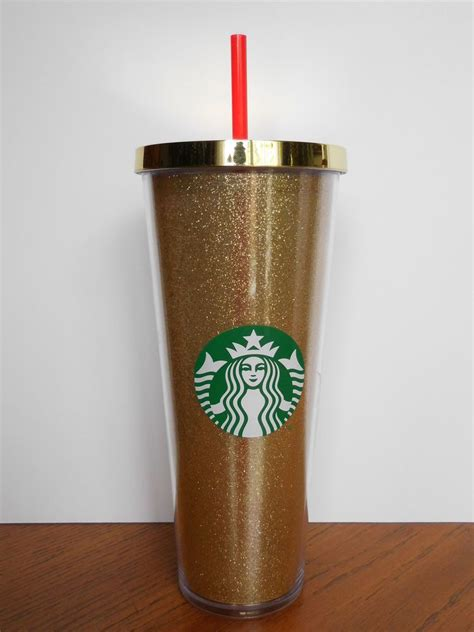 Starbucks Gliter Cold Cup brand new starbucks 2015 dot collection gold glitter cold cup 24 fl oz