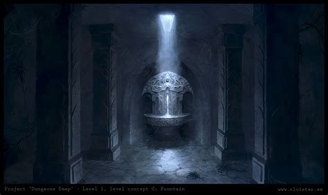 fantasy underground film room dungeon level 1 level concept c fountain by cloister on