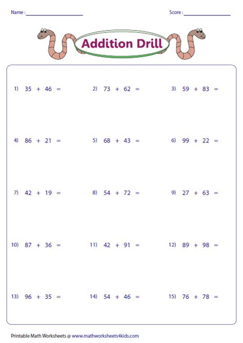 Digit Addition Worksheets by Two Digit Addition Worksheets Lesupercoin Printables