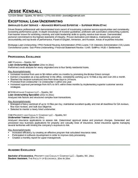 Resume Sle Underwriter Mortgage Specialist Resume 28 Images Exle Mortgage Specialist Resume Free Sle Mortgage Loan