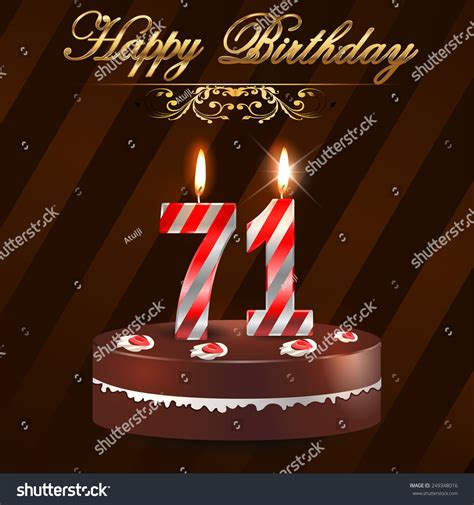 71st birthday images 71 year happy birthday card cake stock vector 249348016