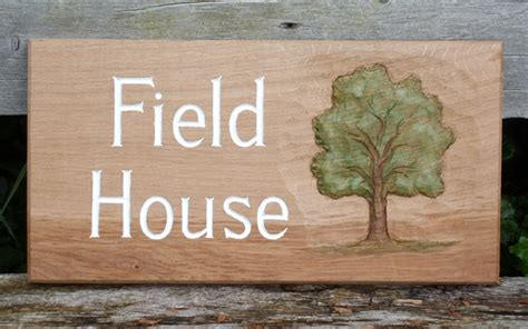 Handmade House Signs - field house handmade wooden sign woodcott bespoke