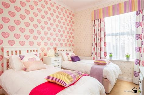 wallpaper for girls bedroom beautiful pink heart wallpaper decoration for girls room along with pretty twin beds and