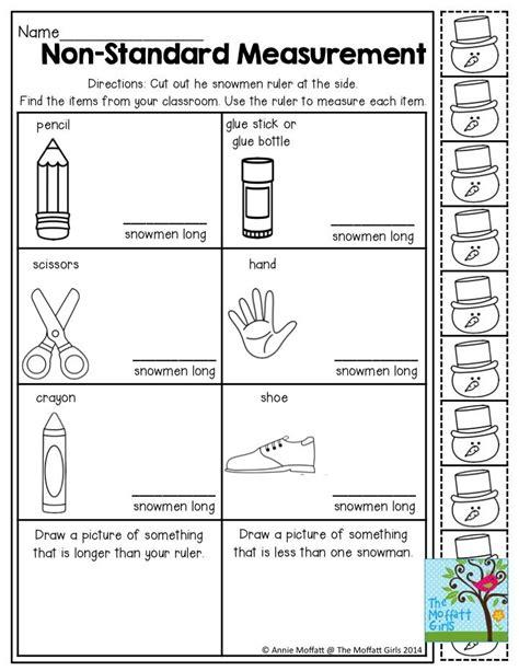 kindergarten activities measurement non standard measurement measuring items with snowmen