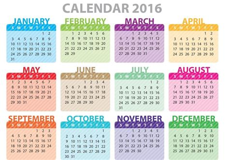 colorful calendar 2016 free vector stock