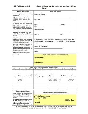 rma document template return authorization form template fill