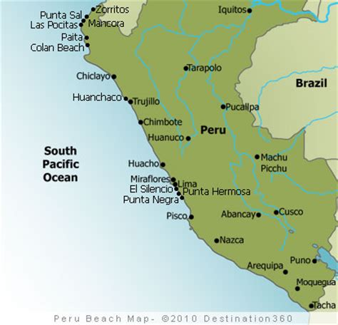 Best Small Towns In America To Visit peru beaches map map of the top beaches in peru