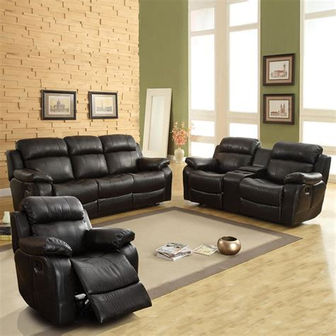 Darrin Leather Reclining Sofa Set With Console Black Black Reclining Sofa Set