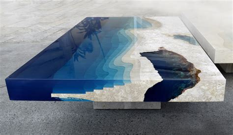 L Table by New Marble And Resin Lagoon Coffee Tables By Alexandre Chapelin Colossal